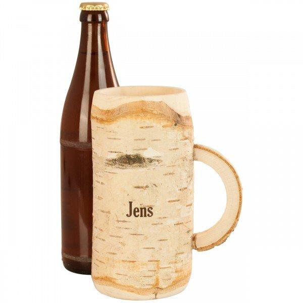 Holz-Bierkrug mit Gravur