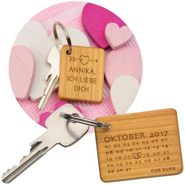 Holz-Schlüsselanhänger – Ich liebe Dich