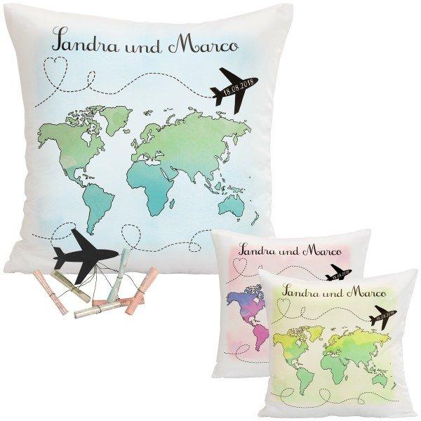 Kissen – Hochzeitsreise mit Weltkarte