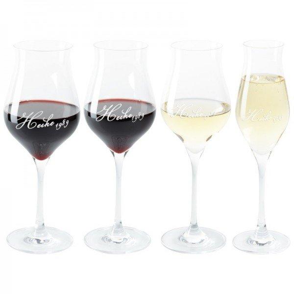 Wein- oder Champagnerglas - Flame - mit Gravur (Auswahl)