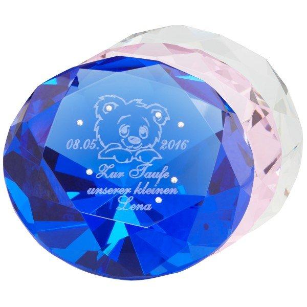 Diamant für Kinder mit Gravur und Swarovski-Kristallen