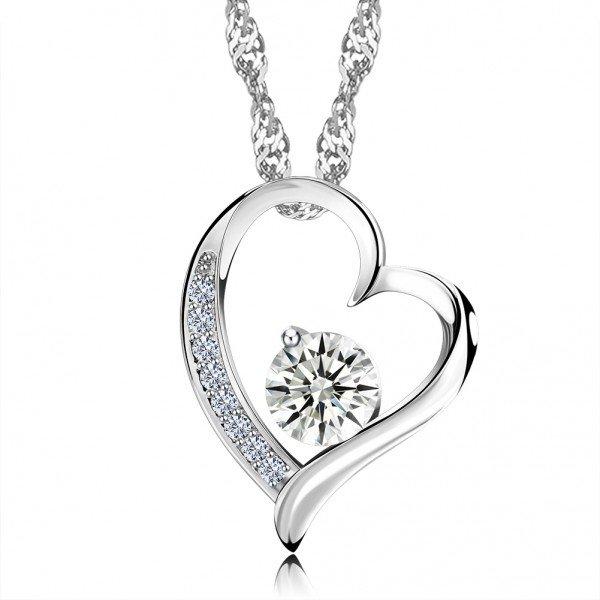 Halskette mit Herz und Strass Steinchen