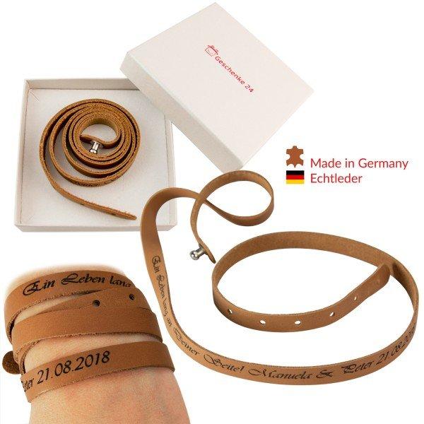 Wickelarmband Leder mit Gravur
