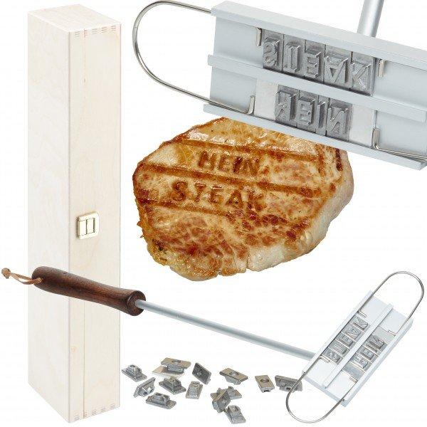 Grillbrandeisen mit personalisierter Holzbox