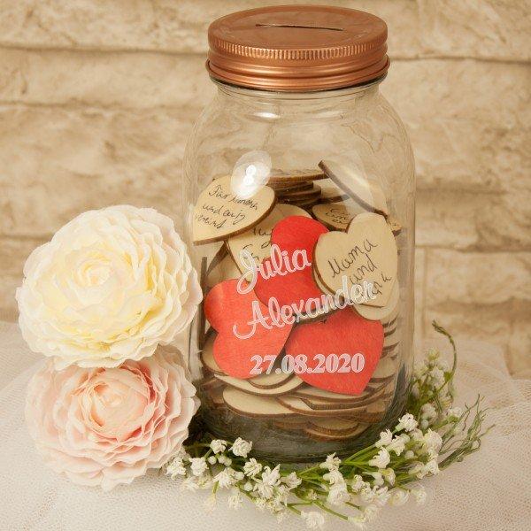 Gästebuch – Wünscheglas mit Gravur