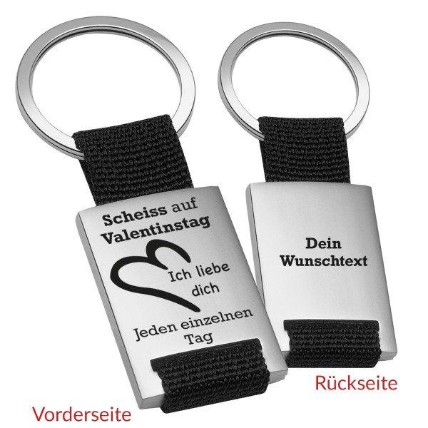 Schlüsselanhänger - Scheiß auf Valentinstag mit Wunschtext